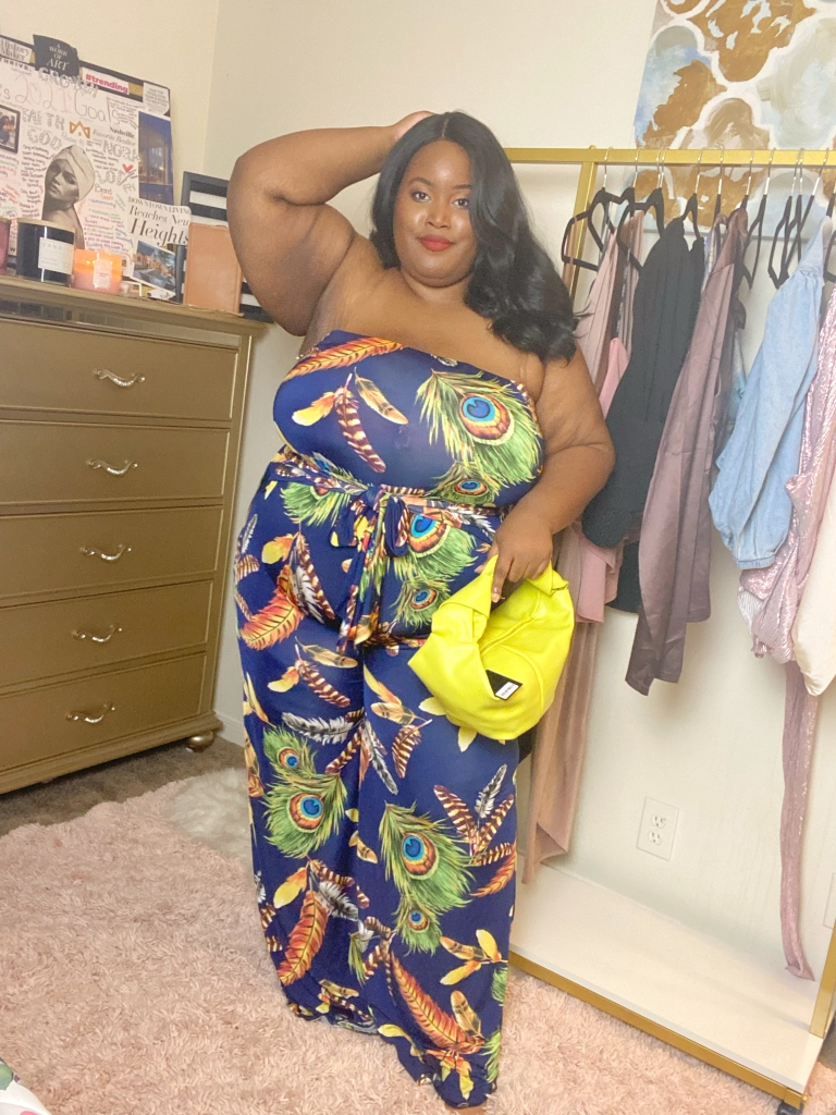 Nora rocking the Paradise Jumpsuit set from Curvy Girl Dreams Boutique in a size 3x